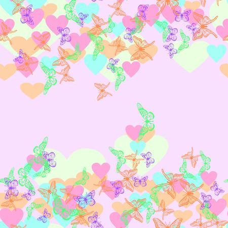 Abstracte naadloze afbeelding. Vlinders en harten. Vector illustratie. Stock Illustratie