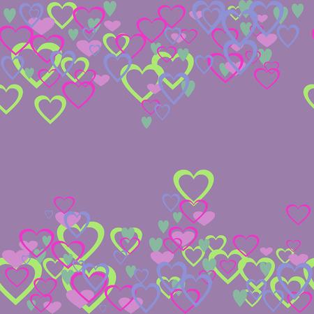 Abstracte naadloze afbeelding. Harten op een paarse achtergrond. Vector illustratie.