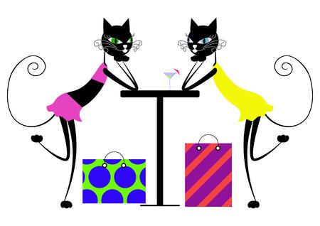 Katten cartoon. Vriendin ontmoet in een café na een shopping trip.