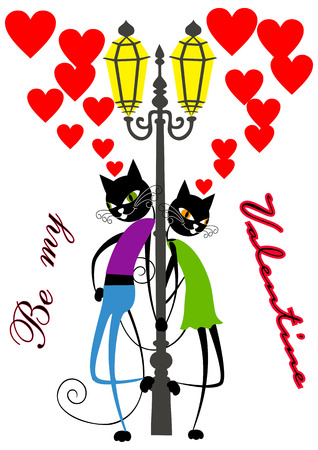 enamoured: Cartoon cats. Enamoured cats stand under a streetlight.