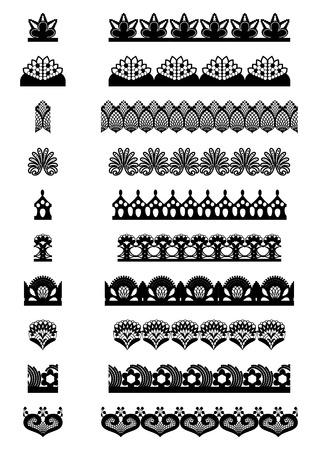 encajes: Colecci�n de elementos de cordones sin costura. Ilustraci�n del vector. Vectores