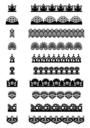 laced: Collection of seamless laced elements. Vector illustration.