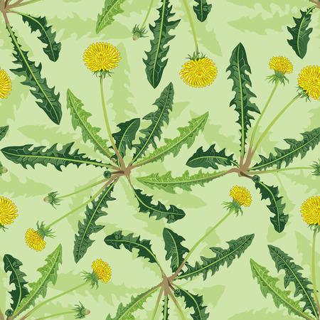 Gele paardebloemen op een groene achtergrond. Vector achtergrond.