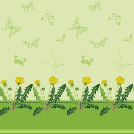 Gele paardebloemen en groene vlinders op een groene achtergrond. Vector achtergrond.