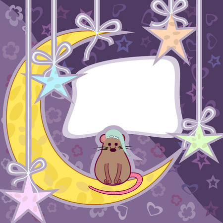 Mouse sitting on the moon with nightcap on his head. Greeting card. Vector
