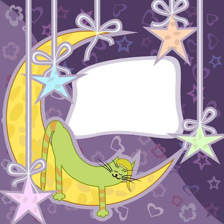 Green cat sleeping on the moon. Greeting card. Vector