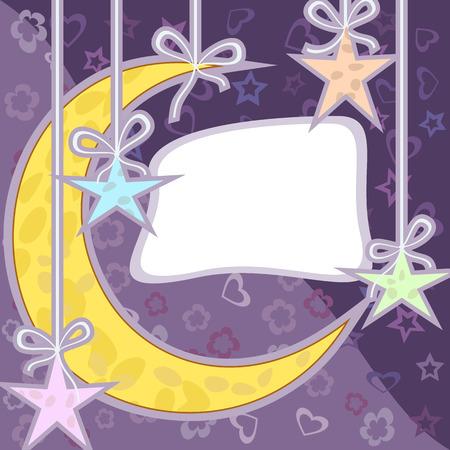 felicitation: Cartoon moon and stars on purple background. Greeting card. Illustration