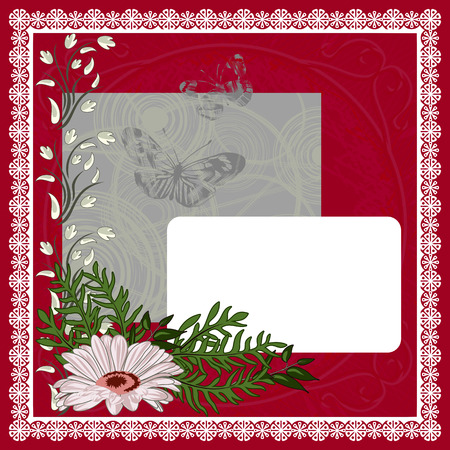 butterflies for decorations: Red and White Valentines Day Postcard. Vector illustration.