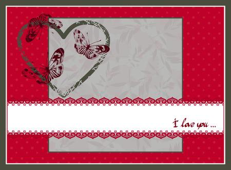Rode en witte Valentijnsdag briefkaart. Vector illustratie.