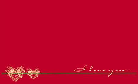Rood en Wit Valentine's Day Postcard. Vector illustratie.