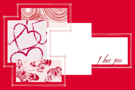 butterflies for decorations: Rosso e Bianco di San Valentino Cartolina. Illustrazione vettoriale.
