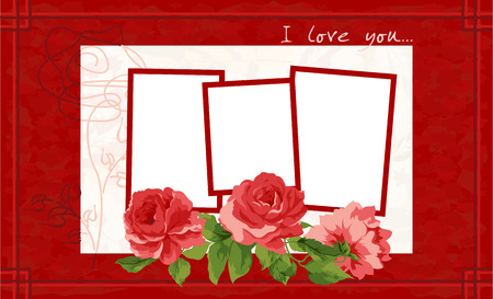 Red and White Valentines Day Postcard. Vector illustration. Vector