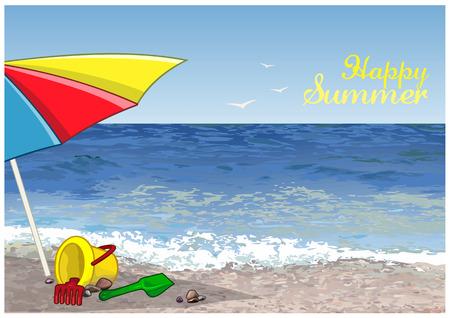 Emmer, schop en hark zijn onder de paraplu op het zand.