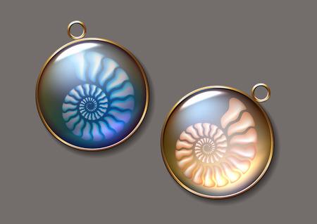 Realisric illustration of Ammonites pendant design pearly, pure and airy Jewel. Illustration