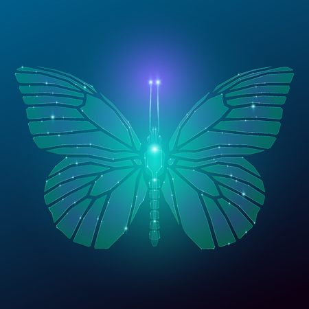 Glowing butterfly from glass shards in neon light