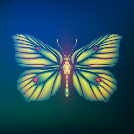 Glowing butterfly Gonepteryx rhamni from glass shards in neon light