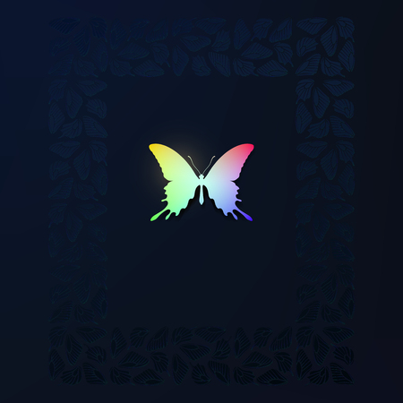 Colorful silhouette  butterfly on dark background