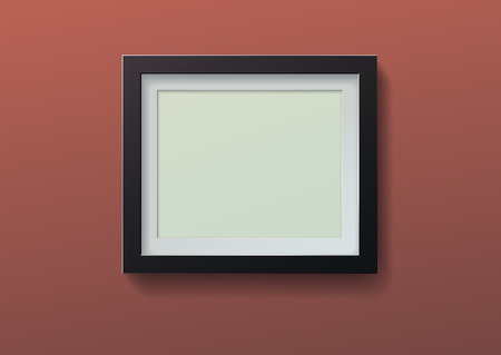Realistic picture frame on brown background