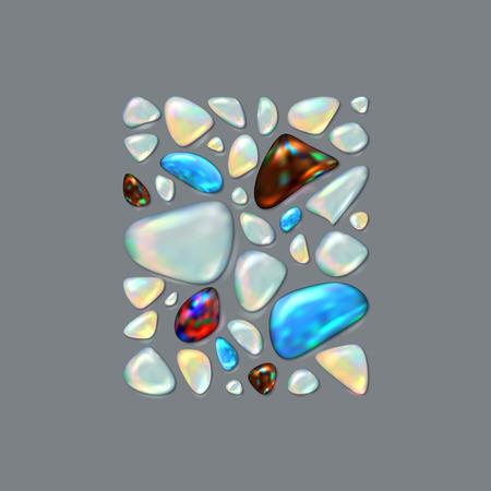 Realistic vector picture Gemstones. Opal, Turquoise, Sardonyx, Adularia, Moonstone.