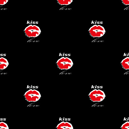 Lips with kiss and love seamless pattern on black background. Modern stylish graphik design. Template for prints, textile, wrapping and decoration, wallpaper. Vector illustration. Illustration