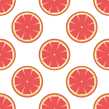 grapefruits: Grapefruits on white background abstract seamless pattern. Juicy fruit graphic design. Modern spring and summer stylish abstract illustration. Template for prints decoration. Vector illustration..