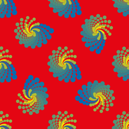 Blue yellow spiral geometric seamless pattern on red background. Fashion modern design. Stylish abstract graphic. Template for prints, decoration. Vector illustration.