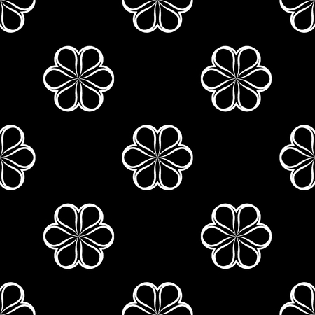 heard: White flowers on black background. Abstract geometric seamless pattern. Fashion graphic. Modern spring and summer stylish design. Template for prints, textile, wrapping and decoration, wallpaper.
