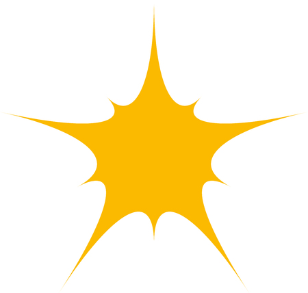 yellow star: One yellow star sign pattern on white background. Template for prints, decoration.Fashion and modern design . Abstract stylish design. illustration