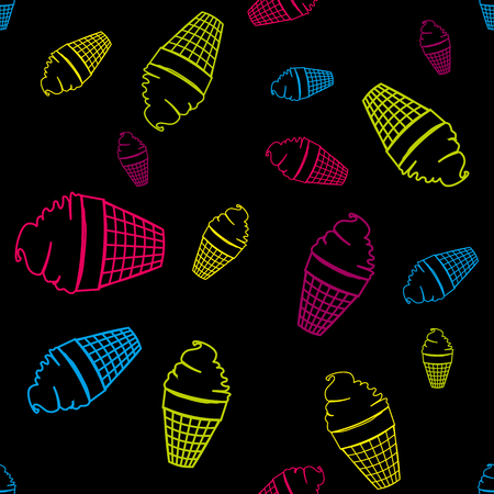 variegated: Variegated circuit of ice-cream seamless pattern on black background. Fashion design. Stylish graphic of summer. Template for prints, textile, wrapping and decoration, wallpaper. illustration.