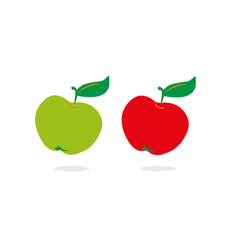 pears: Red and green apples on white background. Template for prints, decoration. Fashion and modern graphic . Abstract stylish design. Vector illustration.