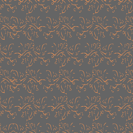 pictorial art: Orange abstract plant line seamless pattern on grey background. Fashion graphic design. Template for prints, textile, wrapping and decoration, wallpaper. Vector illustration.