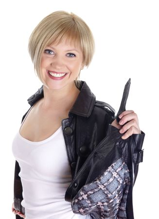 Portrait beautiful smiling girls in a leather jacket.  Isolated on white background Stock Photo - 6776960