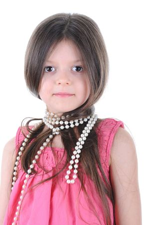Portrait of the little girl with a pearl beads on a neck Stock Photo - 6776964