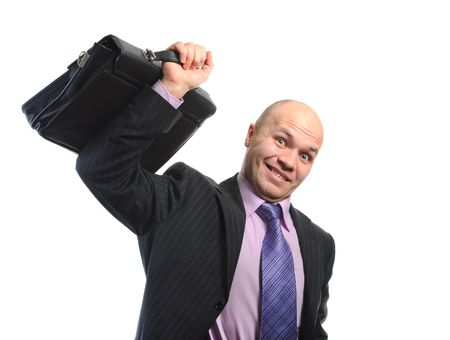 Businessman lifts a heavy portfolio. Isolated on white background photo
