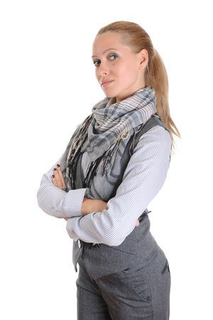 Portrait of the blonde in a suit with a scarf on a neck.  Isolated on white background photo