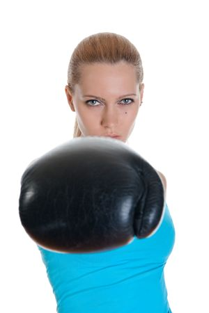 Portrait of the fine sports girl in boxing gloves. Isolated on white background photo