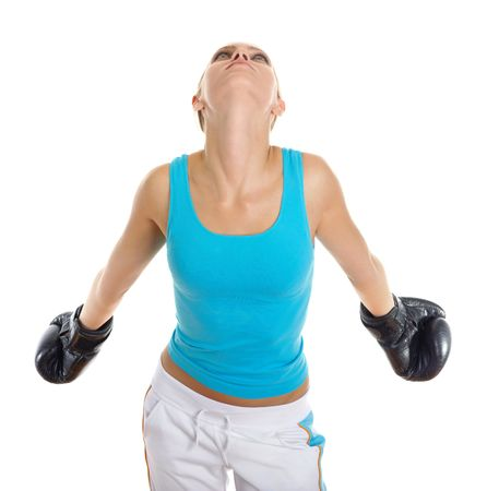 Portrait of the sports girl in boxing gloves plants hands. Isolated on white background photo
