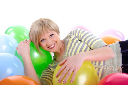 Happy smiling girl with colorful balloons. Isolated on white background photo