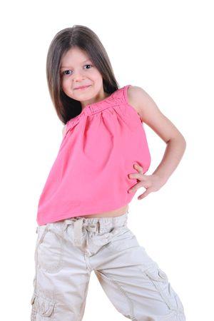 Happy little girl posing.Isolated on white background photo