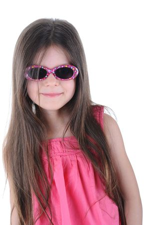 Long-haired girl wearing spectacles. Isolated on white background Stock Photo - 6820513