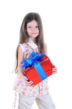 Portrait of the beautiful long-haired girl with a gift. Isolated on white background photo
