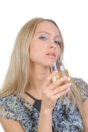 Beautiful girl with a white wine glass. Isolated on white background Stock Photo - 6820435