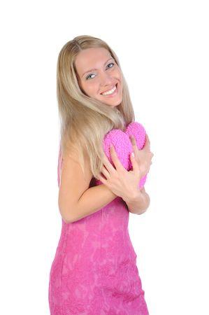 Portrait of the joyful girl embracing heart. Isolated on white background Stock Photo - 6820468
