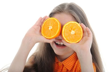 Happy girl holds orange segments before eyes. Isolated on white background. photo