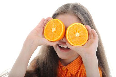Happy girl holds orange segments before eyes. Isolated on white background. Stock Photo - 6820509