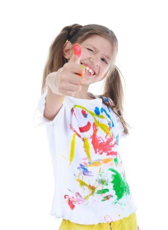 Joyful five years girl in a paint winks. Isolated on white background photo