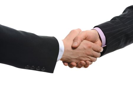 Handshake of two men in black suits. Isolated on white background Stock Photo - 6830493