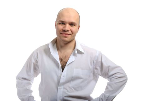 Bald-headed smiling young man in a white shirt. Isolated on white background photo