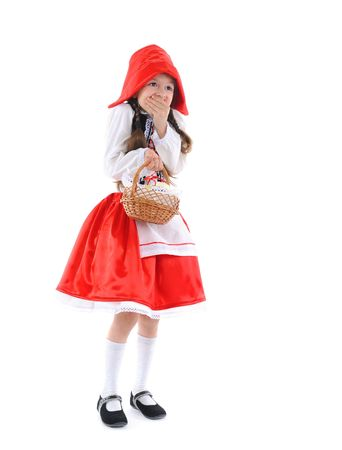 Little girl in a red cap. Isolated on white background Stock Photo - 6820533