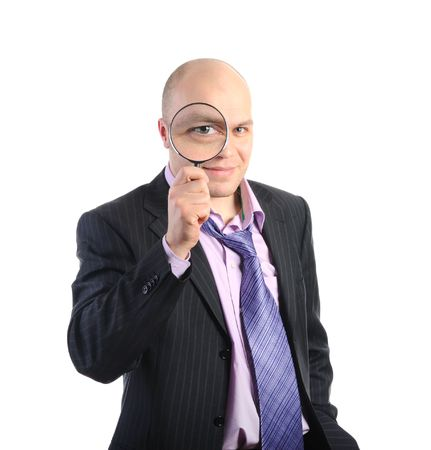 Bald businessman in a suit with a magnifying glass. Izolirovono on a white background Stock Photo - 6820554